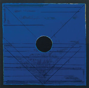 Bindu by S H Raza, Geometrical Serigraph, Serigraph on Paper, Blue color