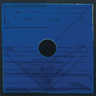 Bindu by S H Raza, Geometrical Serigraph, Serigraph on Paper, Blue color
