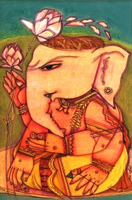 Ganesh B/2 by Anjan Chakraverty, Decorative Painting, Mixed Media on Paper, Brown color