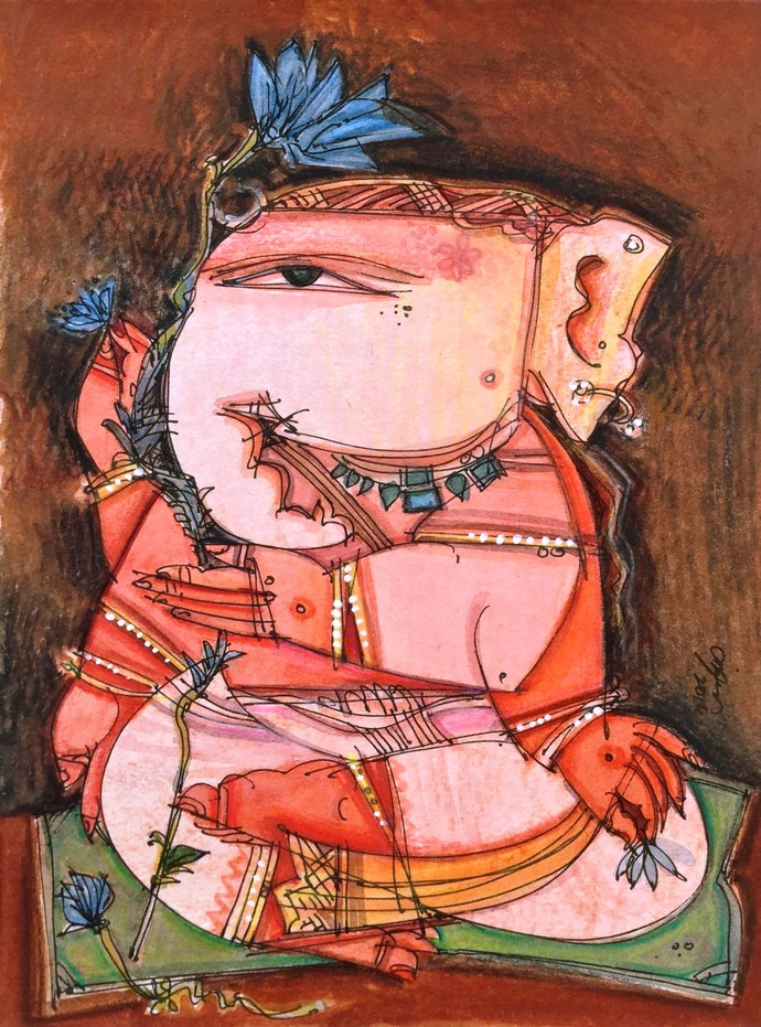 Ganesh C/1 by Anjan Chakraverty, Decorative Painting, Mixed Media on Paper, Brown color