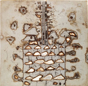 Untitled 6 by Anant Nikam, Abstract Printmaking, Etching on Paper, Beige color