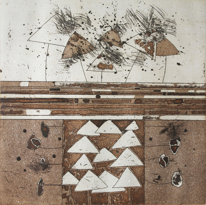 Untitled 4 by Anant Nikam, Abstract Printmaking, Etching on Paper, Brown color