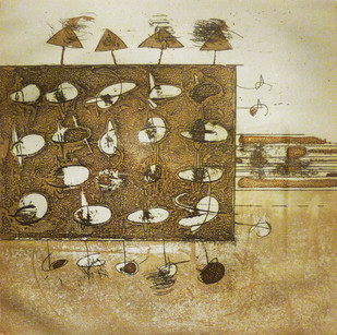 Untitled 1 by Anant Nikam, Abstract Printmaking, Etching on Paper,