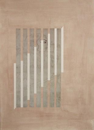 Seized Rhythm by Nurjahan Akhlaq, Geometrical , Mixed Media on Paper, Beige color