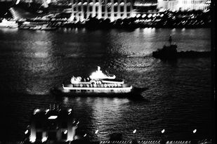 Ferry on the Huangpu, Shanghai by Prarthana Modi, Image Photography, Digital Print on Archival Paper, Gray color
