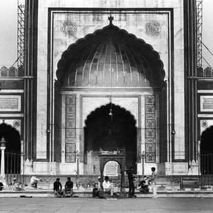 Morning At Jama Masjid, New Delhi by Prarthana Modi, Image Photography, Digital Print on Archival Paper, Gray color