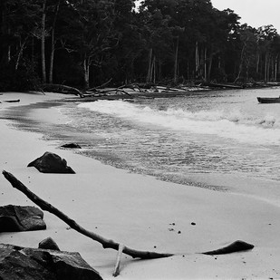 Private Beach - II, Andaman Islands by Prarthana Modi, Image Photography, Digital Print on Archival Paper, Gray color