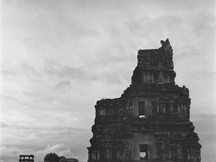 Ruins In The Evening Sky, Hampi by Prarthana Modi, Image Photography, Digital Print on Archival Paper, Gray color