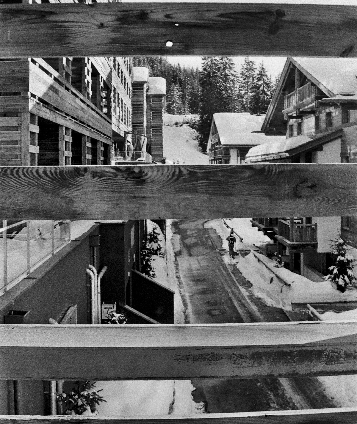 Through The Slats, Verbier by Prarthana Modi, Image Photography, Digital Print on Archival Paper, Gray color