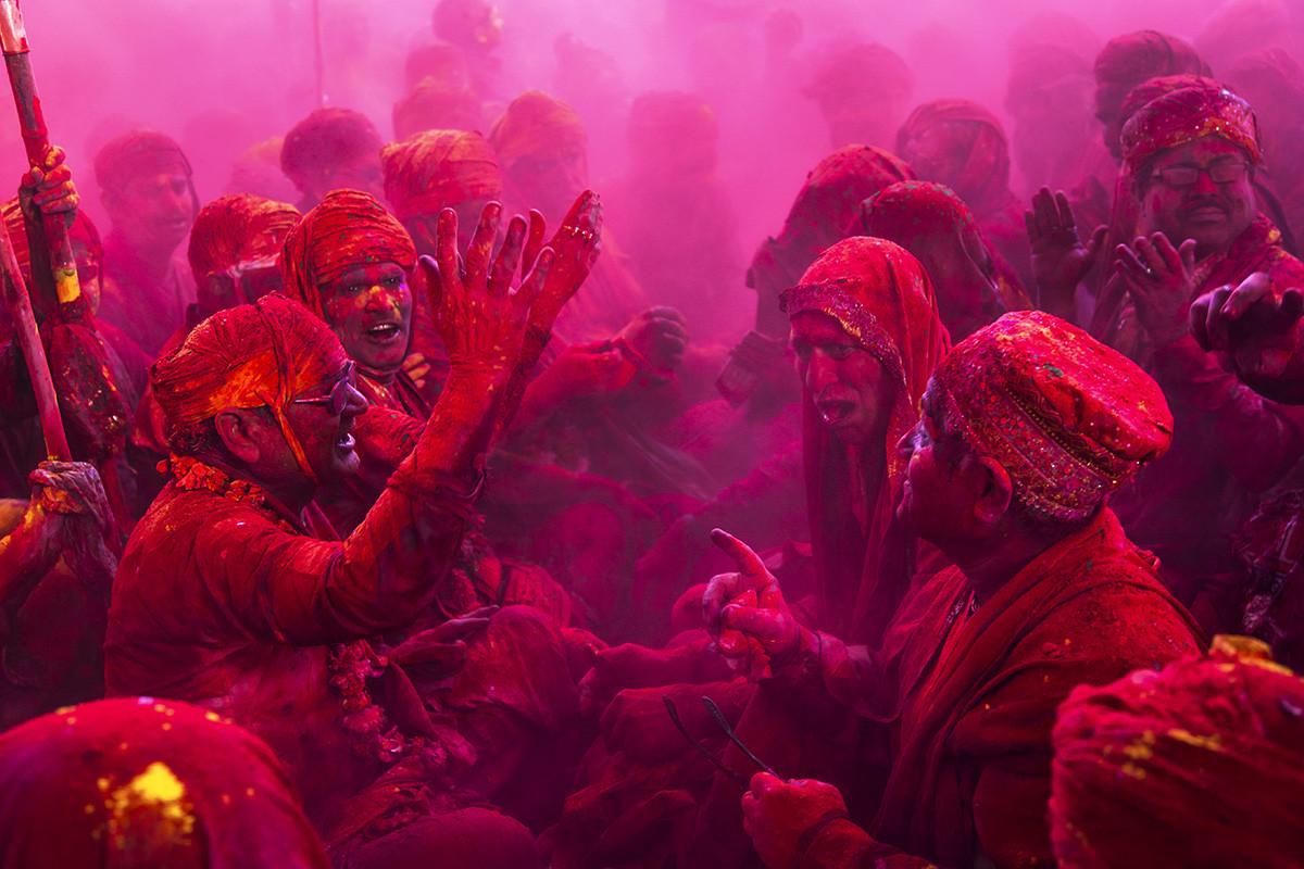 Elders Of Barsana In Ceremony by Udit Kulshrestha, Image Photography, Digital Print on Archival Paper, Purple color