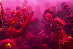 Elders Of Barsana In Ceremony by Udit Kulshrestha, Image Photography, Digital Print on Archival Paper, Purple color