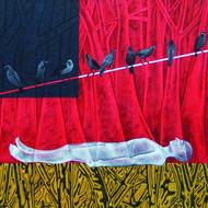 Moksha by Pradip Unni, Surrealism Painting, Acrylic on Canvas, Pink color