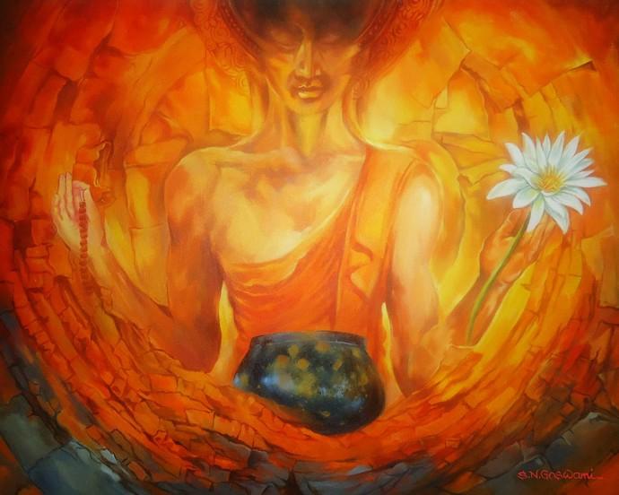 Meditation Buddha by Shambhu Nath Goswami, Impressionism Painting, Acrylic on Canvas, Orange color