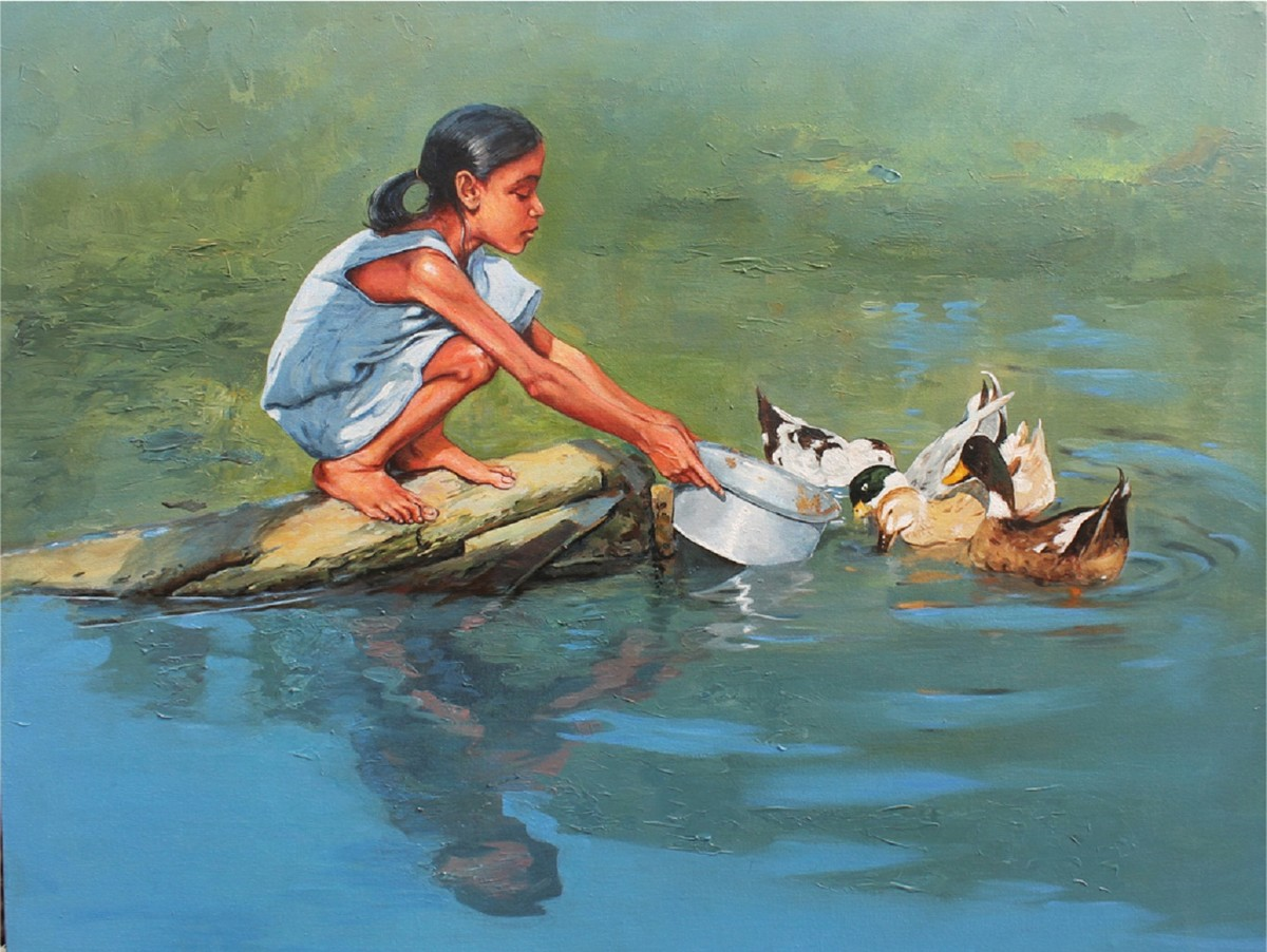 Childhood 2 by Satyabrata Karmakar, Realism Painting, Acrylic on Paper, Green color