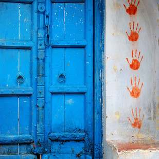 Yeh Tera Ghar Yeh Mera Ghar by Ajay Rajgarhia, Image Photography, Digital Print on Archival Paper, Blue color