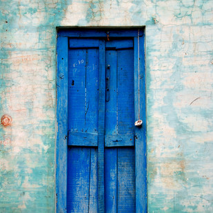 My Blue Door by Ajay Rajgarhia, Image Photography, Digital Print on Archival Paper, Cyan color