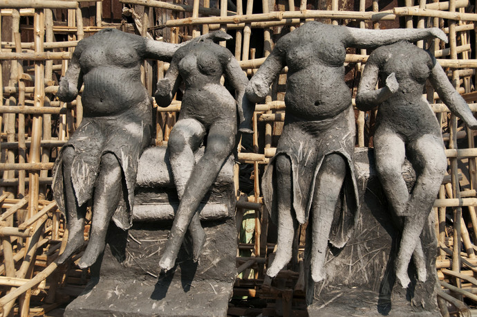 Kumartuli 3 by Ajay Rajgarhia, Image Photography, Digital Print on Archival Paper, Brown color