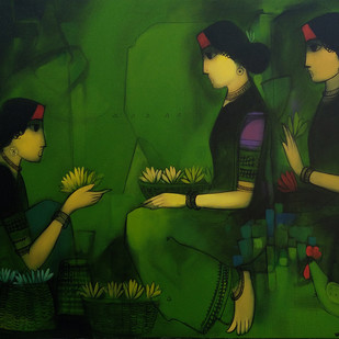 Untitled by Sachin Sagare, Traditional Painting, Acrylic on Canvas, Green color