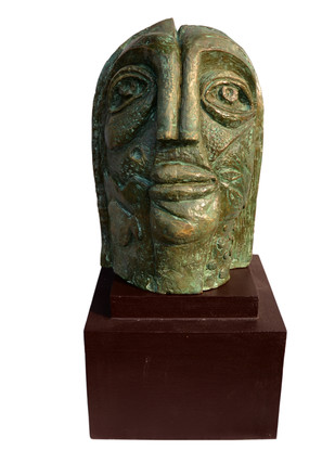 The Face by Atish Mukherjee, Art Deco Sculpture | 3D, Bronze, White color