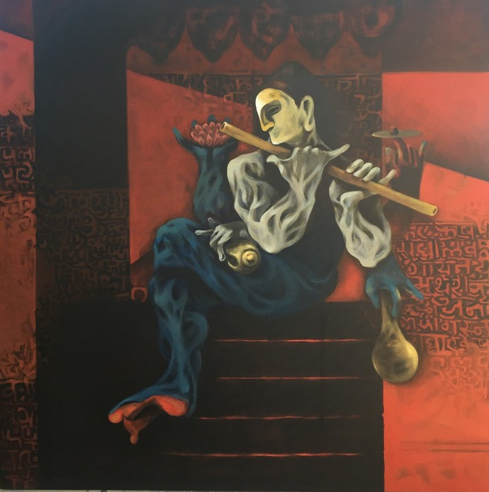 Dashavtaar I by Vijay Kale, Expressionism Painting, Acrylic on Canvas, Brown color