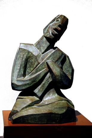 Musician by Bimal Kundu, Art Deco Sculpture   3D, Bronze, White color