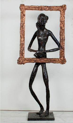 Maiya As Monalisa by K S Radhakrishnan, Art Deco Sculpture | 3D, Bronze, Gray color
