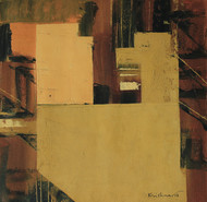 Untitled by Krishna Pulkundwar, Abstract Painting, Oil on Canvas, Brown color