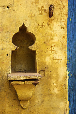Swastik Alcove by Sanjay Nanda, Image Photography, Digital Print on Canvas, Brown color
