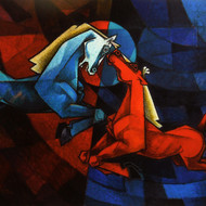 Waltzing Our Way To Happiness Digital Print by Dinkar Jadhav,Cubism
