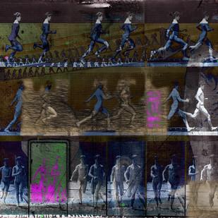 NO GOAL by Santosh Jain, Digital Digital Art, Digital Print on Canvas, Gray color