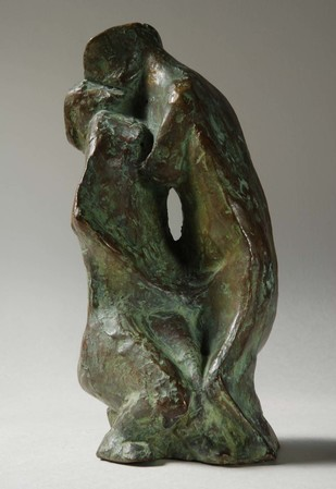 Kiss by Sarbari Roy Chowdhury, Art Deco Sculpture, Bronze, Brown color