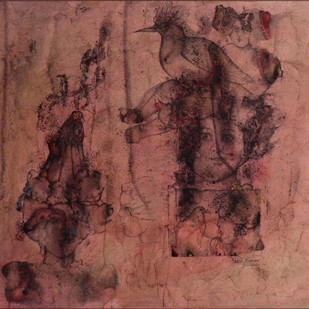 Untitled by Sakti Burman, Impressionism Painting, Watercolor & Ink on Paper, Brown color