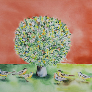 The Song Of The Earth by Maite Delteil, Impressionism Painting, Watercolor on Paper, Brown color