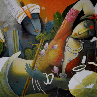 Krishna by Surendra Pal Singh, Decorative Painting, Oil on Canvas, Brown color