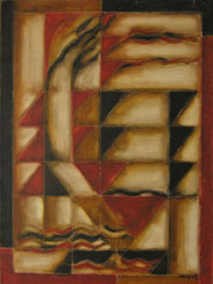 Untitled by Akkitham Narayanan, Cubism Painting, Oil on Canvas, Brown color