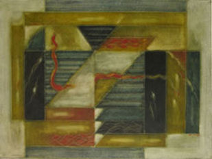 Untitled by Akkitham Narayanan, Cubism Painting, Oil on Canvas, Green color