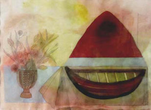 Boat and Mountain by Badri Narayan, Fantasy Painting, Watercolor & Ink on Paper, Brown color
