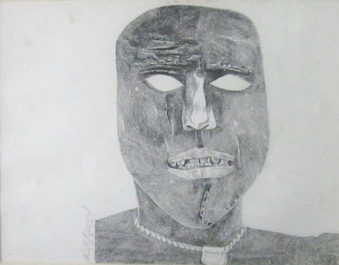 Untitled (Head) by Laxma Goud, Impressionism Drawing, Graphite on Paper, Gray color
