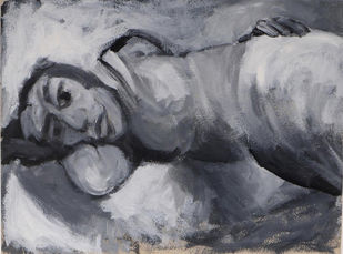 Reclining Woman by Sudhir Patwardhan, Impressionism Painting, Acrylic on Paper, Gray color