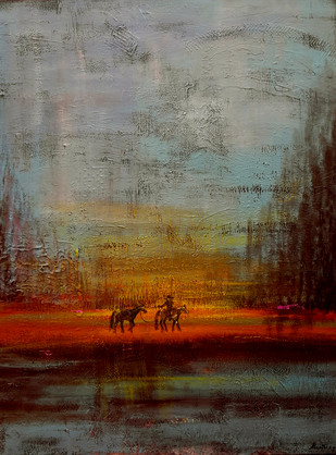 Returning Horses by Sheetal Singh, Impressionism Painting, Acrylic on Canvas, Brown color