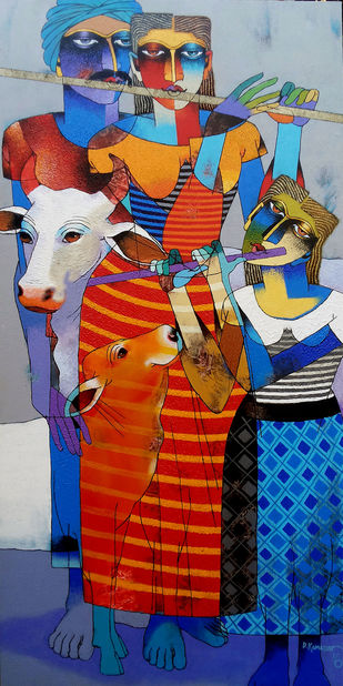Entertaining Family by Dayanand Kamakar, Decorative Painting, Acrylic & Graphite on Canvas, Blue color