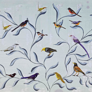 Freedom To Fly by Debasish Dutta, Decorative Painting, Acrylic & Ink on Paper, Pink color