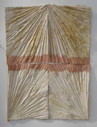 Pinkcity by Ingrid Pitzer, Abstract Painting, Cast Paper, Brown color