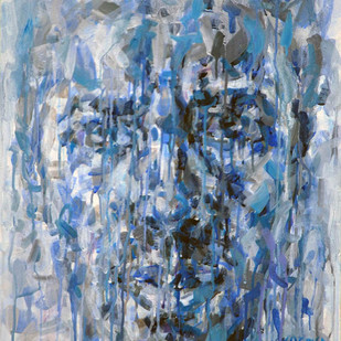 Blue Face by Jagdish Chander, Impressionism Painting, Acrylic on Canvas, Cyan color