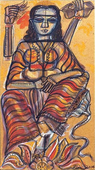 The Woman Shakti by Rini Dhumal, Impressionism Painting, Watercolor on Board, Brown color
