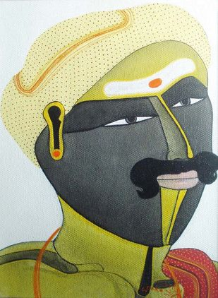 Untitled by Thota Vaikuntam, Folk Painting, Acrylic on Canvas, Green color