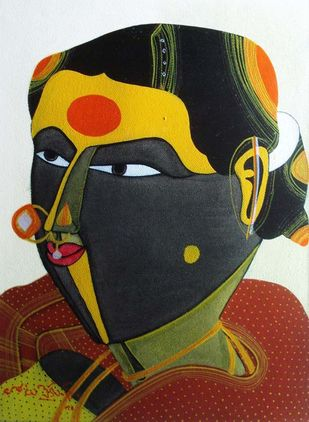 Untitled by Thota Vaikuntam, Folk Painting, Acrylic on Canvas, Brown color