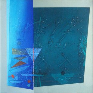 Untitled by Anwar Khan, Abstract Painting, Oil on Canvas, Blue color