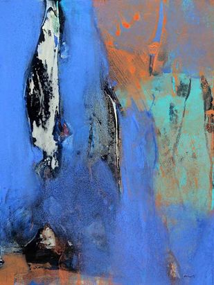 Untitled - 24 by Ravi Mandlik, Abstract Painting, Acrylic on Paper, Blue color