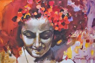 Mood Red by Samir Mondal, Impressionism Painting, Watercolor on Paper, Brown color